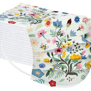 mondmasker kind bloemen vogels